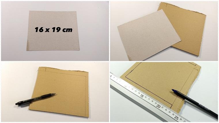 Cornici per foto fai da te, cartoncino spesso e uno più sottile con righello e pennarello nero