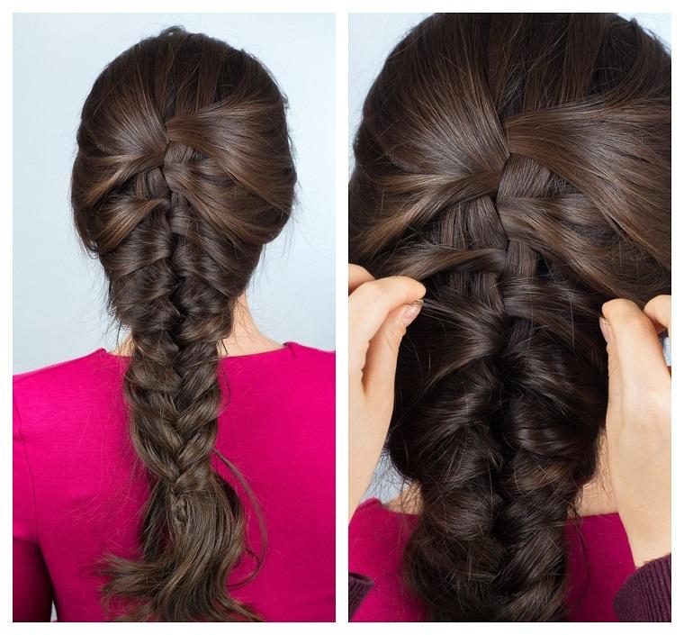 Tutorial trecce, idea acconciatura a spiga per dei capelli lunghi e di colore castano