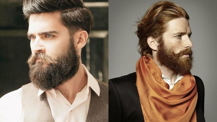 Come curare la barba, due proposte con baffetti lunghi di uomini con capelli leggermente lunghi