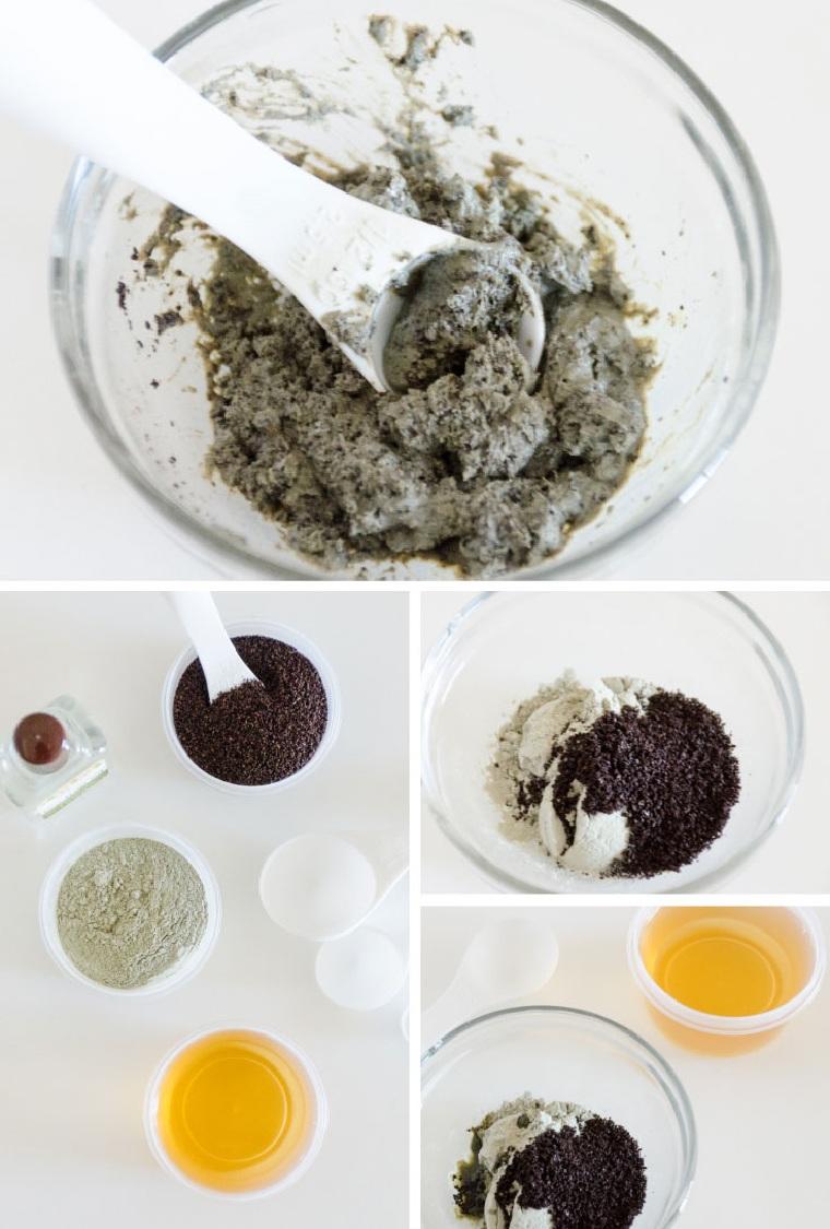 Scrub viso fai da te in contenitore di vetro con miele e caffè da riutilizzare