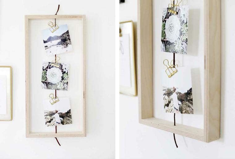 Portafoto multiplo da parate fai da te in legno con filo su cui attaccare le foto