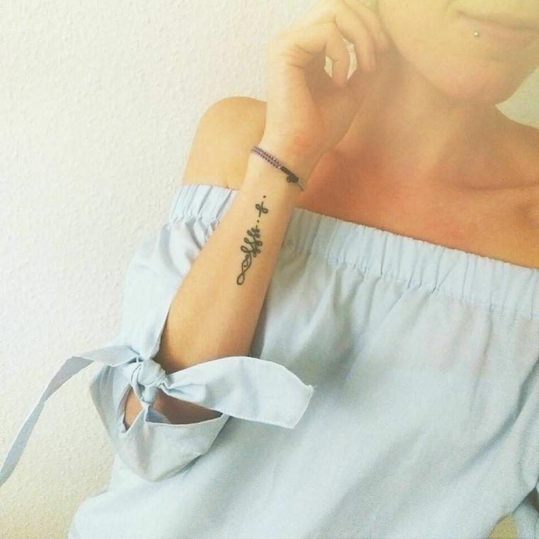 Disegno per dei tatuaggi significati profondi, tattoo sull'avambraccio di una donna