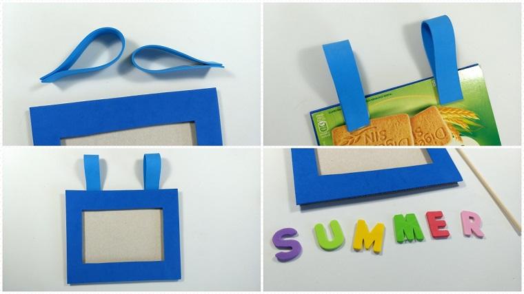 Come fare una cornice di cartone rivestita di gomma eva di colore blu e decorazioni