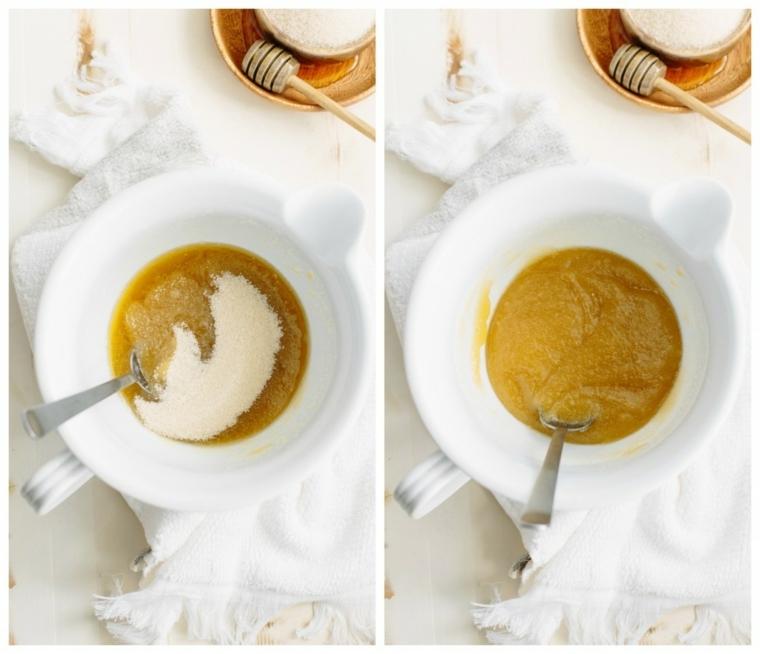 Ciotola con uno scrub per il viso a base di zucchero e miele