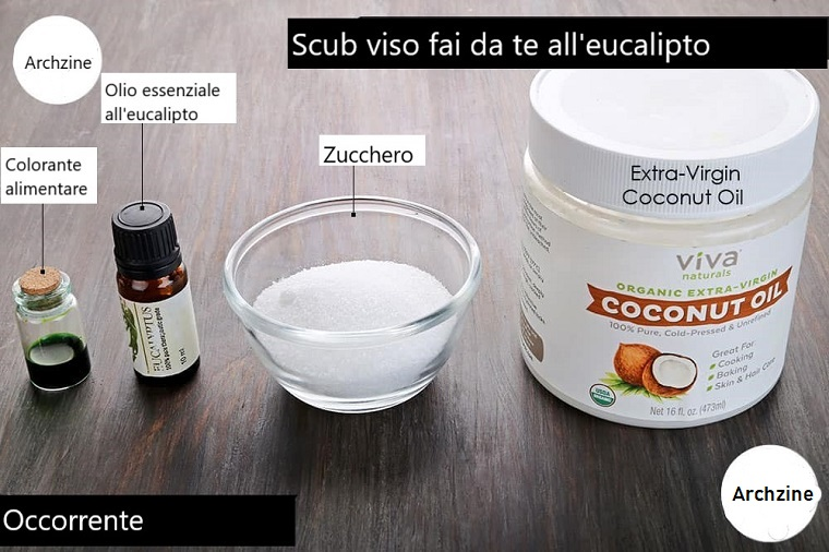 Scrub viso fai da te con ingredienti posizionati su un tavolo con superficie di legno