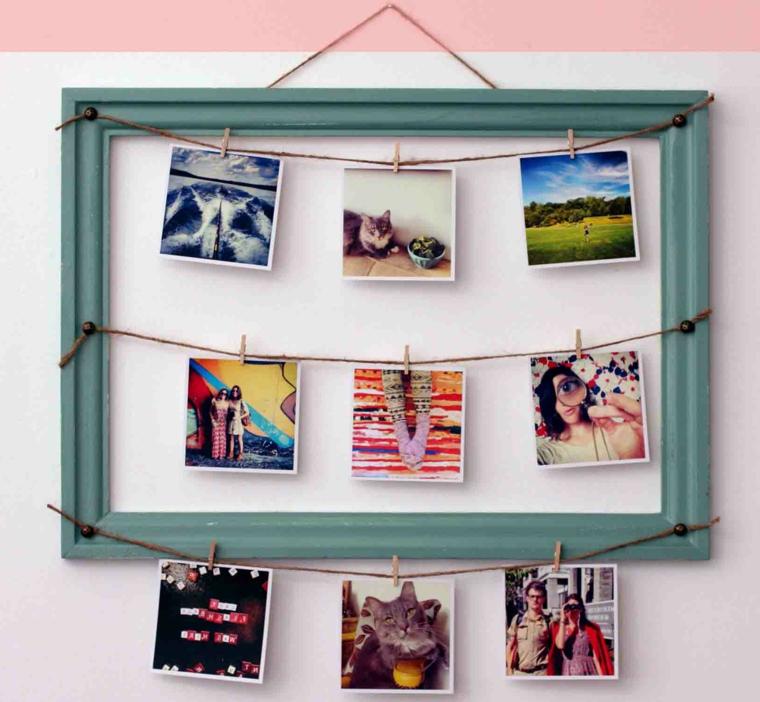 Portafoto fai da te da una cornice vecchia con fili su cui attaccare le foto