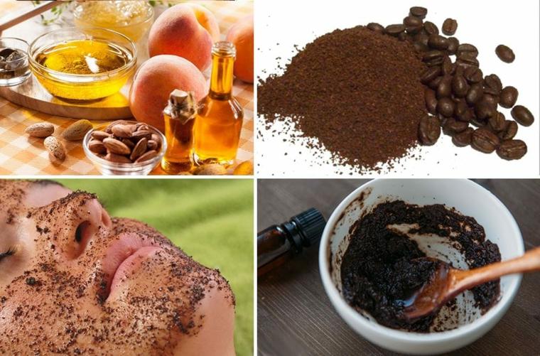 Scrub fatto in casa a base di caffè e olio essenziale di mandorle per la pulizia del viso