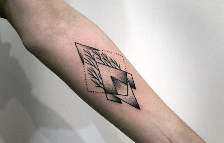 Tatuaggio bracciale, idea per un tattoo con simboli e forme geometriche con leggere sfumature