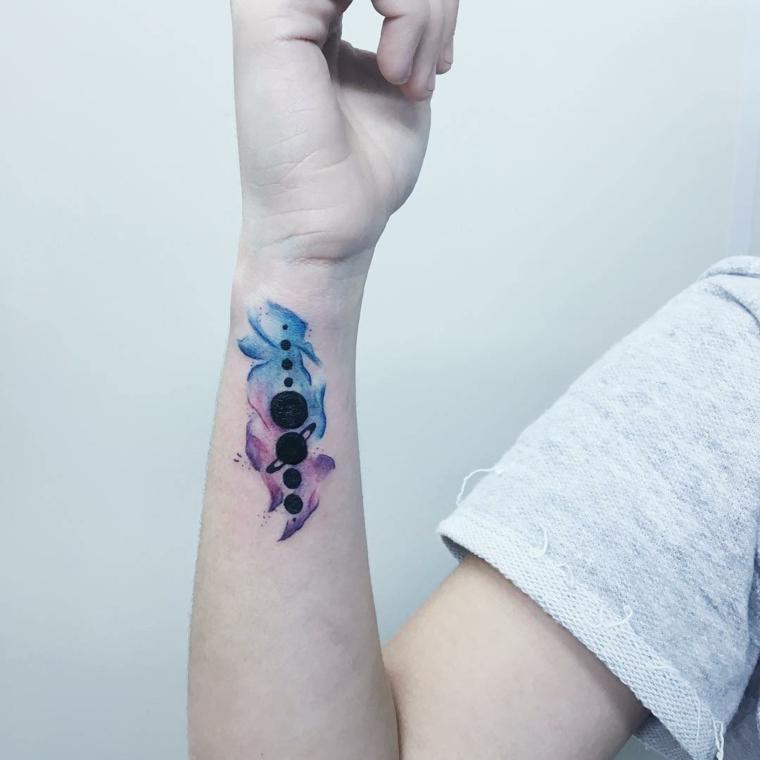 Tatuaggi avambraccio uomo e un'idea con il sistema solare colorato intorno