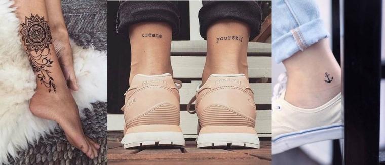 Idea per dei tatuaggi simboli sulla gambe di tre donne, tattoo mandala, scritta e ancora