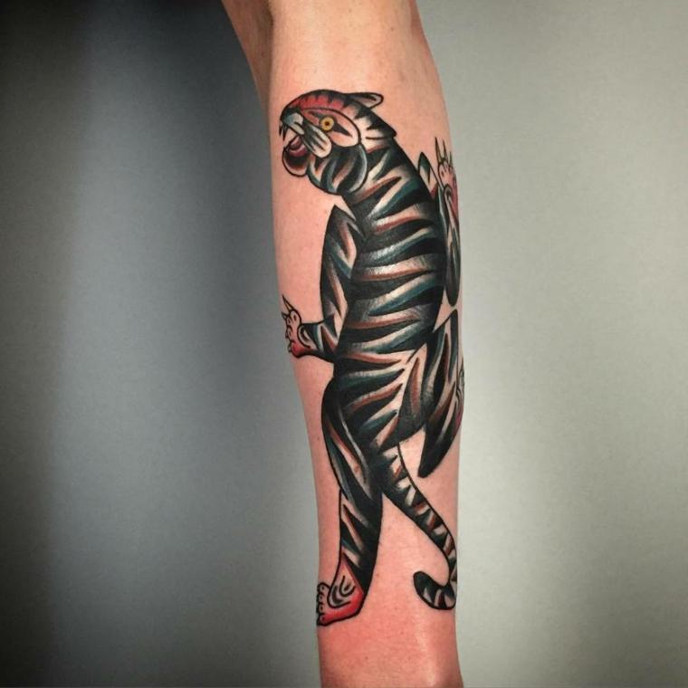 Il disegno di un tattoo colorato di una tigre che si arrampica sull'avambraccio di un uomo