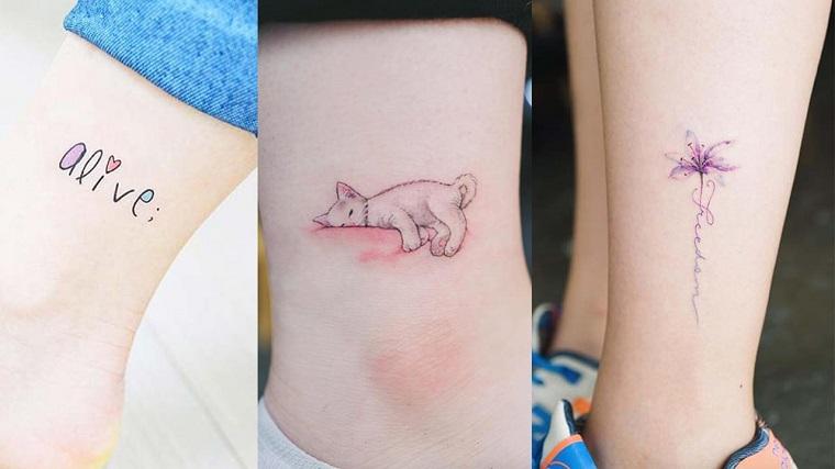 Tatuaggi alla caviglia femminili, tre idee per tattoo con scritte e disegno di gatto che dorme
