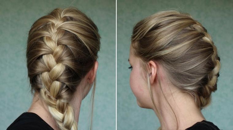 Trecce alla francese per dei capelli lunghi e lisci tinti di colore biondo