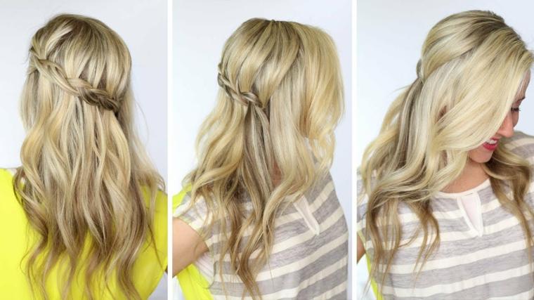 Come fare le trecce a cascata su dei capelli medi e mossi di colore biondo