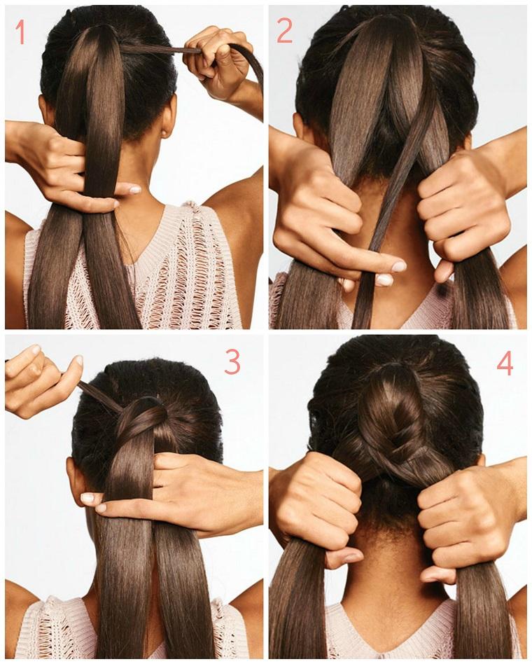 Idea come fare la treccia a spiga su dei capelli lunghi di colore castano