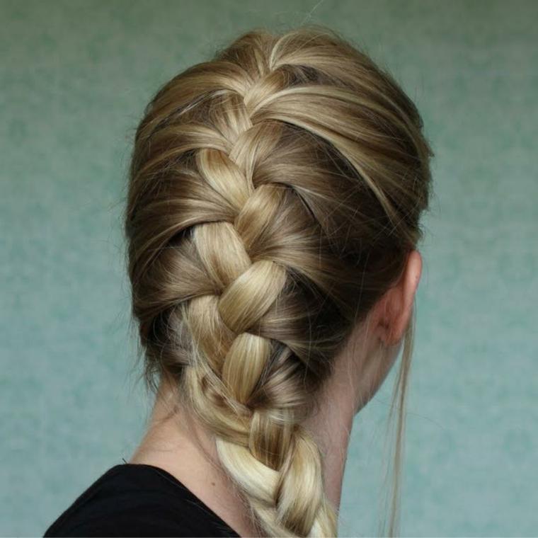 Trecce attaccate alla testa e una per dei capelli biondi con riflessi più chiari