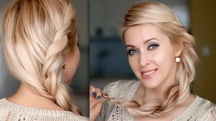 Come fare le trecce laterali, ragazza con capelli lunghi e lisci di colore biondo