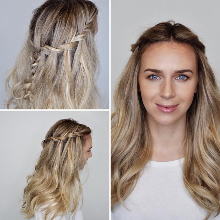 Treccia a cascata per dei capelli lunghi e mossi di colore biondo
