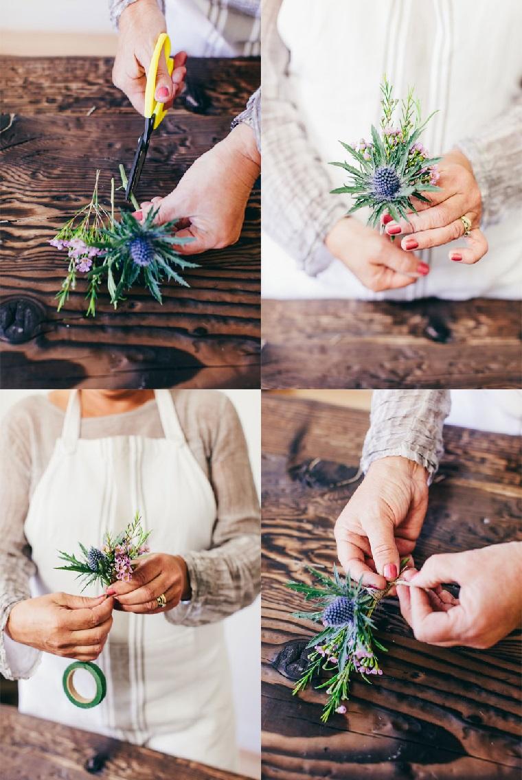 Procedimento come legare i fiori per fare un piccolo bouquet come segnaposto ad un matrimonio