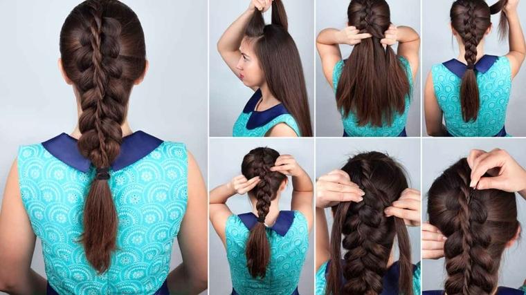 Treccia francese e tutorial come realizzarla su capelli lunghi di colore castano