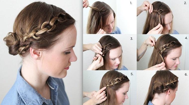 Come fare le trecce, acconciatura elegante per una ragazza con i capelli di colore biondo
