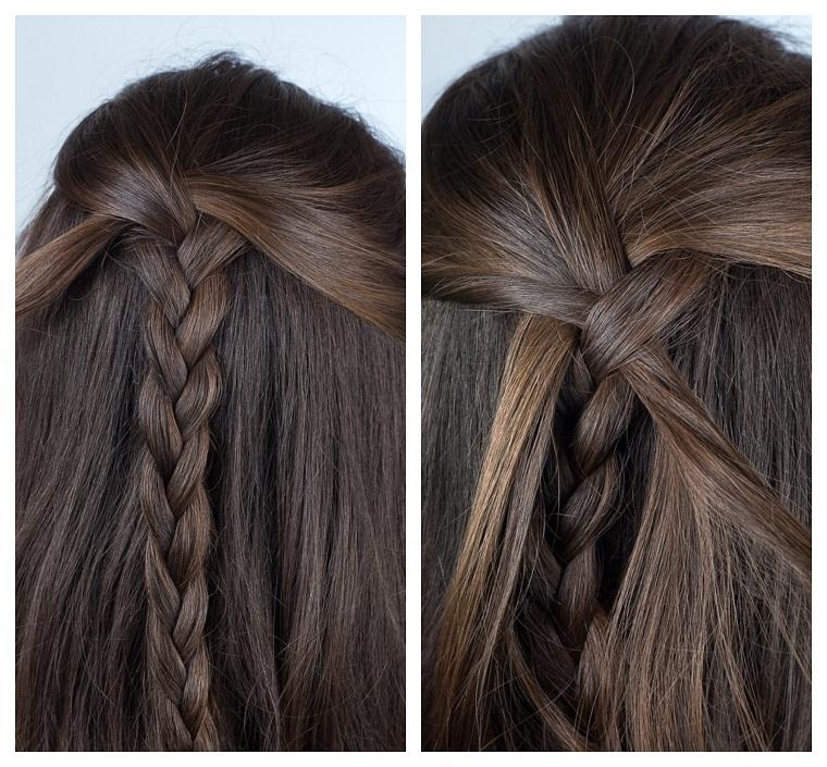 Tutorial per fare una treccia francese su dei capelli castani lunghi e mossi