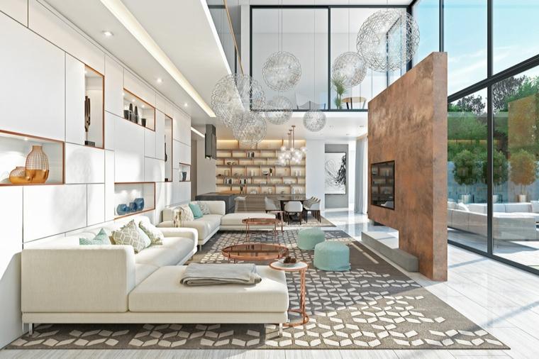 Arredare salotto e sala da pranzo insieme, parete bianca con nicchie in cartongesso con varie decorazioni