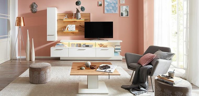 Mobili soggiorno moderni e un'idea con parete rosa e tappeto grigio con pelo lungo