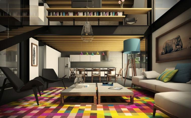 Soggiorni moderni componibili e un'idea con due tavolini grigio bassi, poltrone nere e divano ad angolo