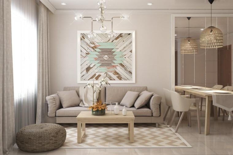 Mobili soggiorni moderni con un divano grigio e lampadari sospesi sul tavolo da pranzo