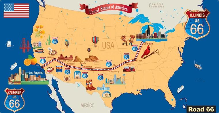 Viaggi organizzati Stati Uniti con la cartina geografica della Route 66
