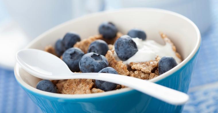 Ricette senza carboidrati e un'idea con ciotola di yogurt con mirtilli e cereali integrali