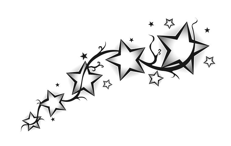 Disegno a matita di tante stelle, idea per un tatuaggio stella significato profondo
