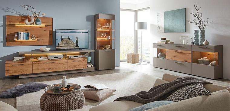 Soggiorni moderni componibili con elementi in legno e illuminazione strisce a led