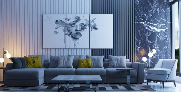 Pareti colorate soggiorno e quadri come decorazione, divano grigio con cuscini gialli