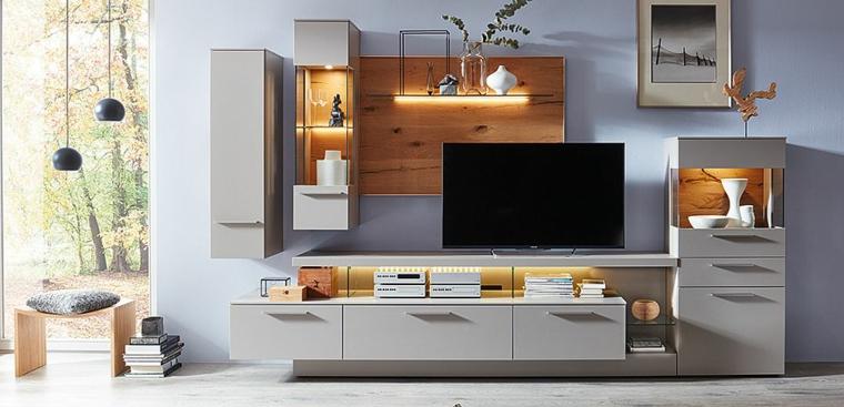 Arredare salotto e sala da pranzo insieme con mobile di legno di colore grigio e finestrini di vetro