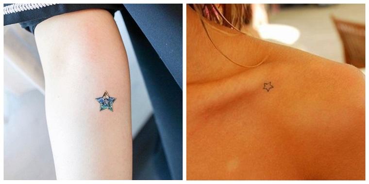 Tattoo particolari e un'idea con stelline piccole sul braccio e sulla spalla