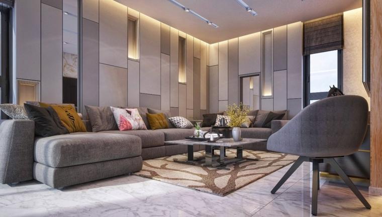 Esempi arredamento soggiorno con divano grigio in tessuto e tavolino basso dalla forma quadrata