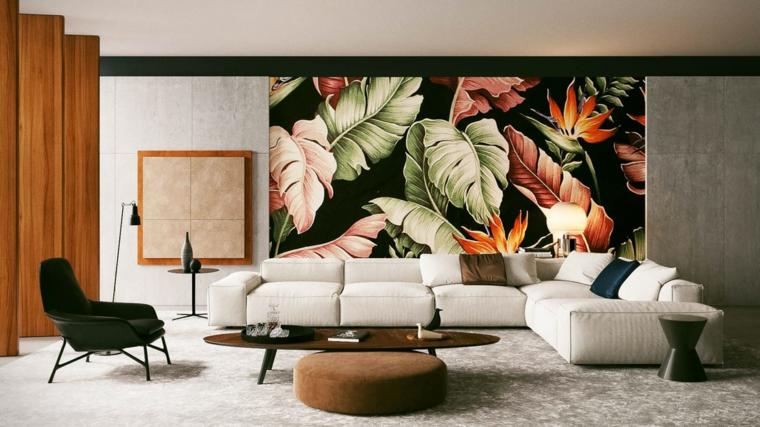 Salotti moderni e un'idea di arredamento con un divano bianco e tavolino di legno dalla forma ovale