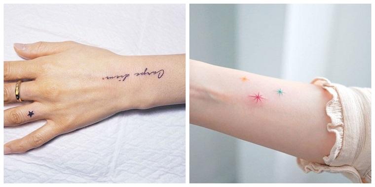 Tatuaggio stella significato sul braccio di una donna, scritta carpe diem sul polso della mano