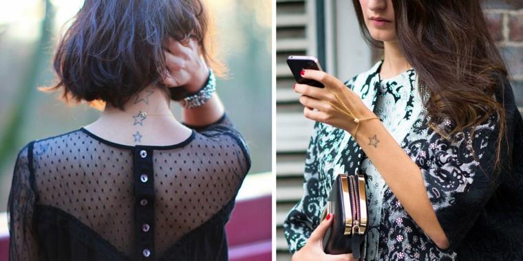 Tatuaggi stelle e un'idea con dei disegni sulla schiena e sul polso di una donna