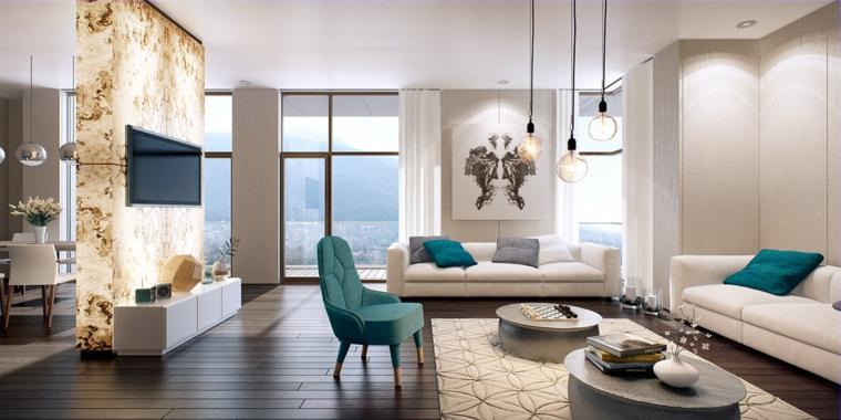 Arredare salotto e sala da pranzo insieme divisi con una parete di marmo, divani di pelle colore bianco e tavolini rotondi