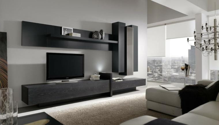 Mobili sospesi soggiorno di legno e colore nero, divano bianco e lampadario a sospensione