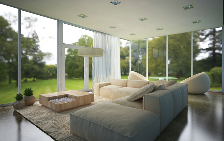 Idea arredamento per dei salotti moderni divano bianco e tavolino di legno son decorazione sassolini