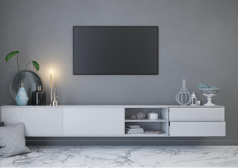 Saloni moderni e un'idea di arredamento con un mobile di colore bianco sospesi e tv da parete