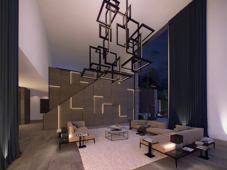 Pareti colorate soggiorno con illuminazione a led, divani di colore beige di pelle e tavolini