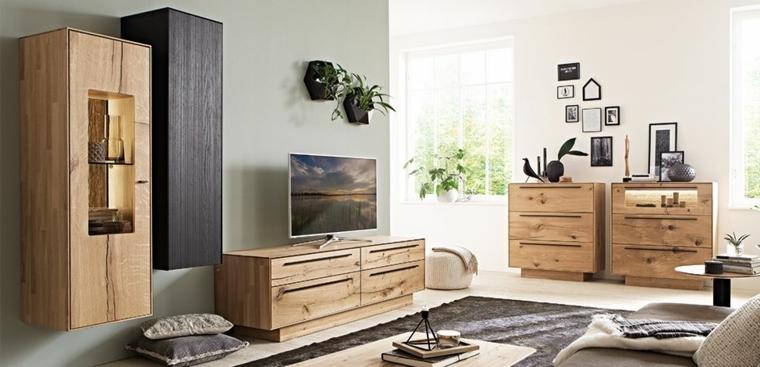 Idea arredamento salotto con mobili di legno, pareti colorate soggiorno di colore verde chiaro e bianco