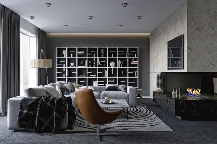 Soggiorni moderni componibili e un'idea con un divano grigio e parete con un camino moderno