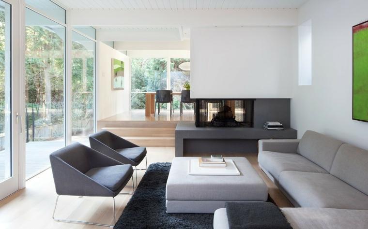Salotti moderni e un'idea di arredamento con divano grigio imbottito e parete divisoria con camino moderno