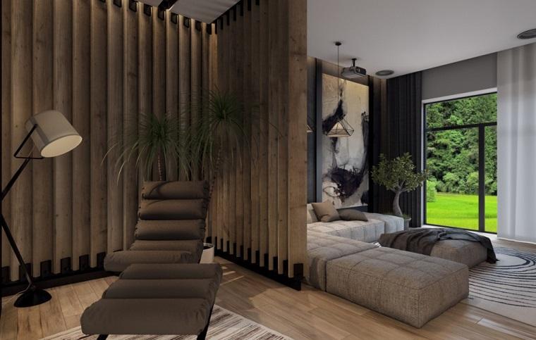 Soggiorni moderni componibili con divano grigio e parete divisoria di legno